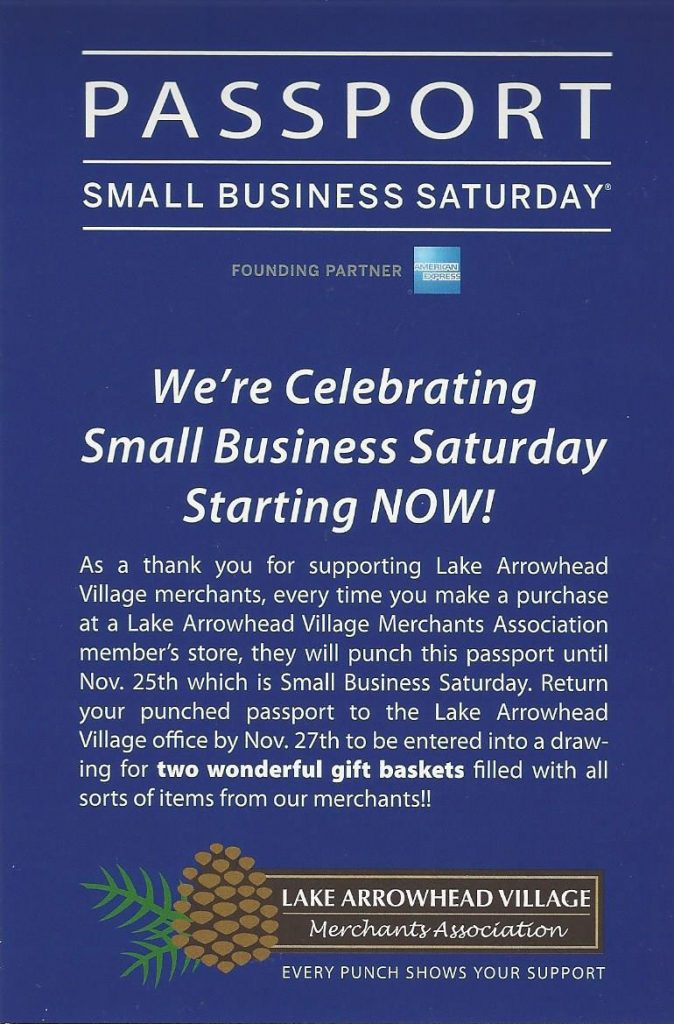 Small Business Saturday Passport - Lake Arrowhead Village
